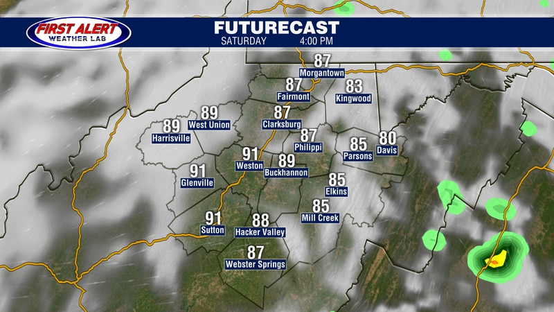 Futurecast showing conditions at 4 PM, July 24, 2021.