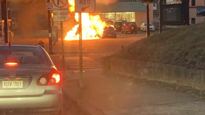 Crews respond to vehicle fire in GoMart parking lot.