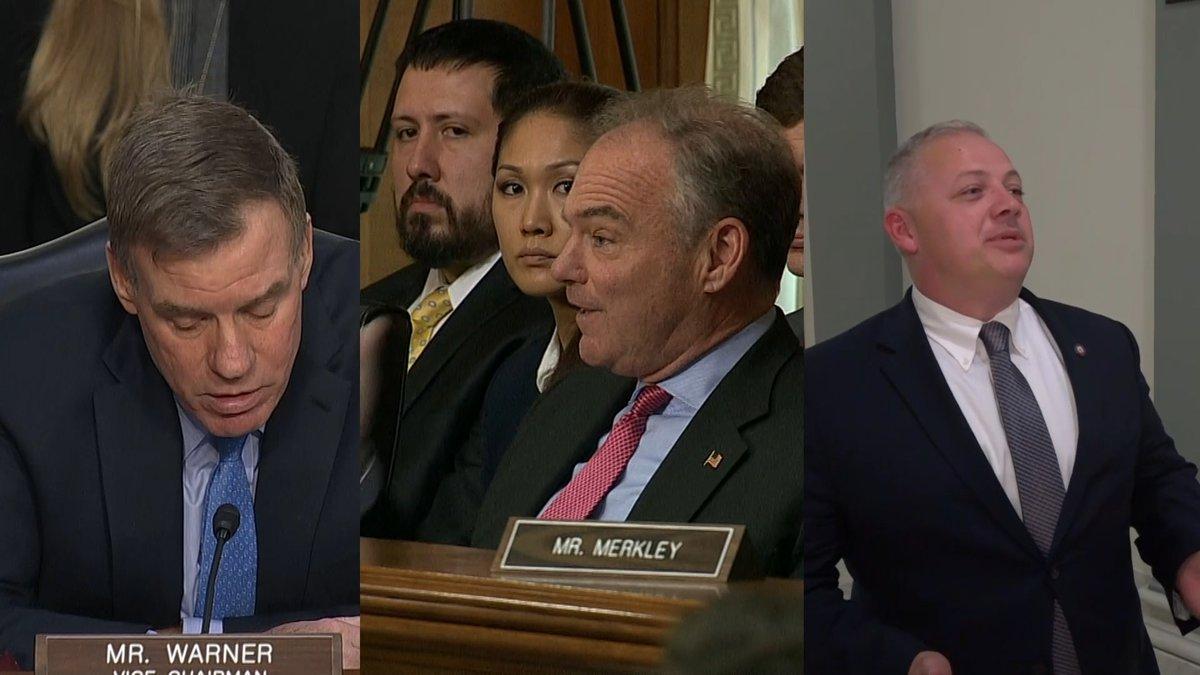 Virginia lawmakers, Democratic Sens. Tim Kaine and Mark Warner, plus Rep. Denver Riggleman...