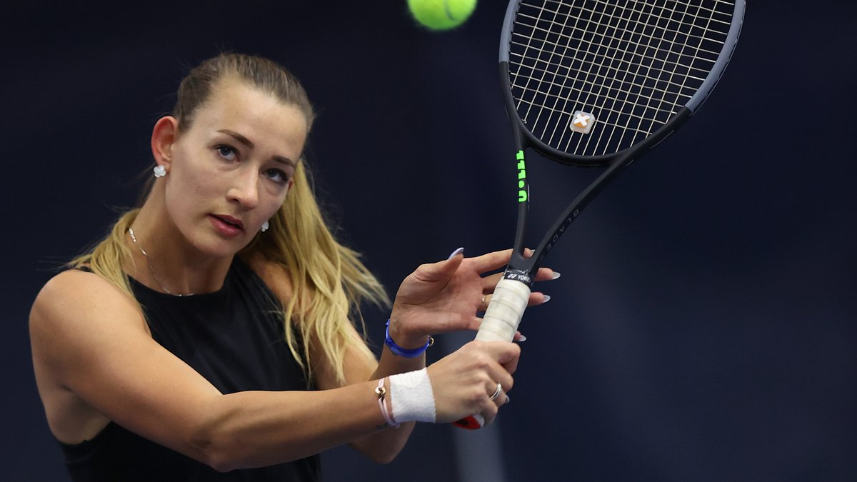 Russian Yana Sizikova poses for a photo during the Winter Moscow Open 2021 tennis tournament in...
