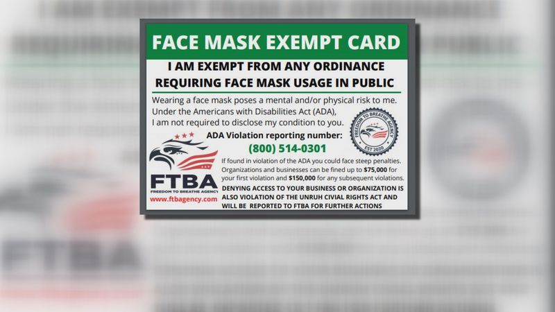 Cards for sale online say you don't have to wear a mask. They're a scam.