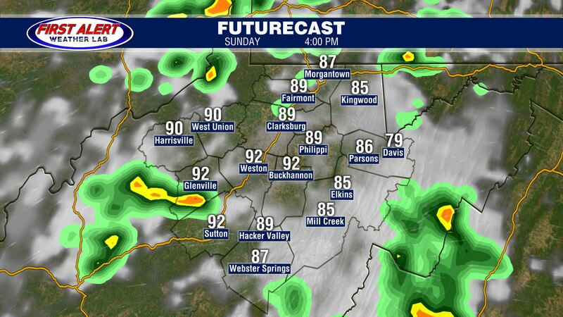 Futurecast showing conditions at 4 PM, August 29, 2021.