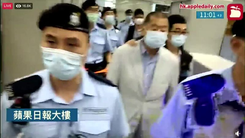 Jimmy Lai was arrested an a newspaper office was raided in Hong Kong.
