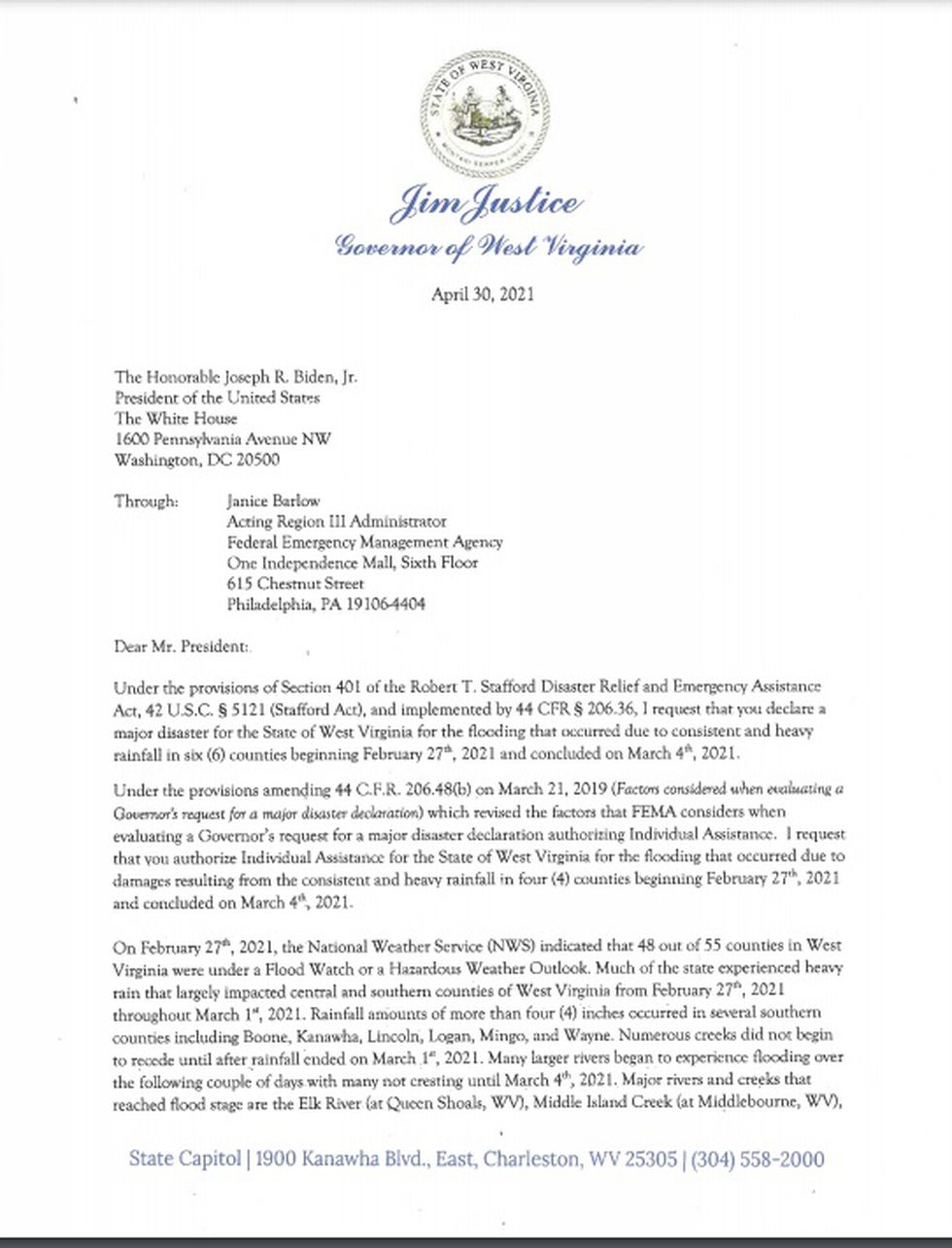 West Virginia Gov. Jim Justice wrote a letter to President Joe Biden, requesting federal...