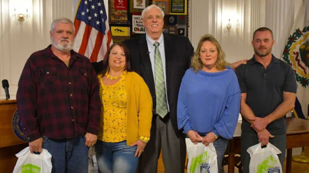 Governor Jim Justice, along with officials from the West Virginia Tourism Office and Division of Natural Resources announced the winners of the 2020 Hunting and Fishing License Contest at a ceremony Tuesday. (Courtesy: Governor Justice's office)