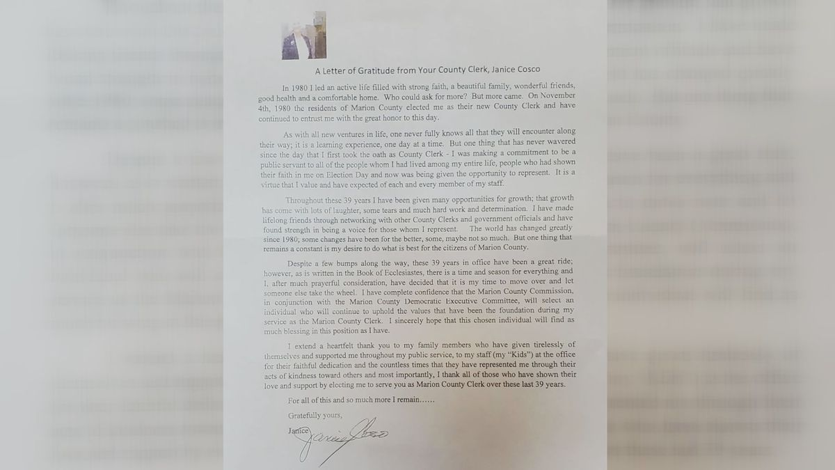 The letter was handed out during the announcement of Cosco's resignation.
