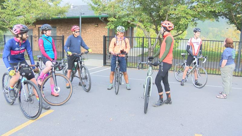 Cyclists meet together for an 105 mile ride.