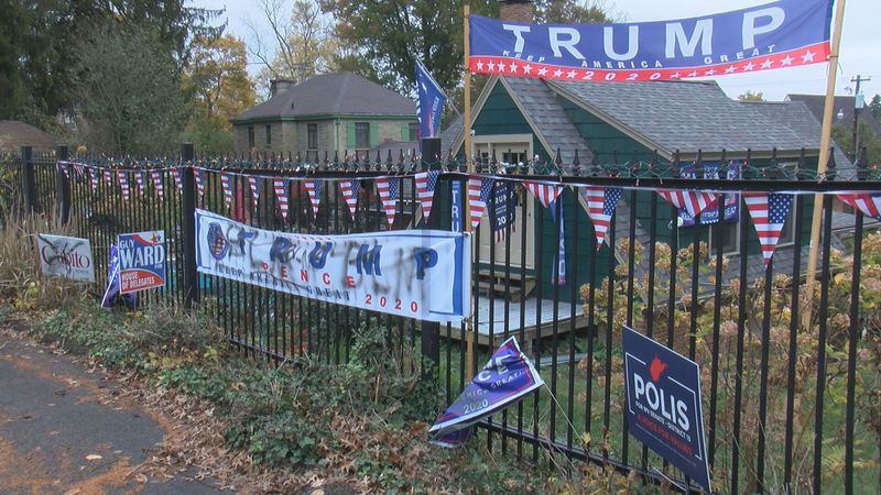 The display in a Fairmont neighborhood sits in the backyard of Shauna Gerau. She has faced a...