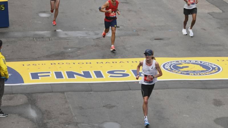 P.J. Louzy at the Boston Marathon finish line