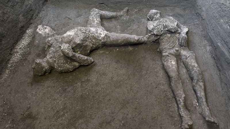 The casts of what are believed to have been a rich man and his male slave fleeing the volcanic...