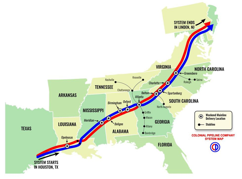 The Colonial Pipeline transports gasoline and other fuel through 10 states between Texas and...