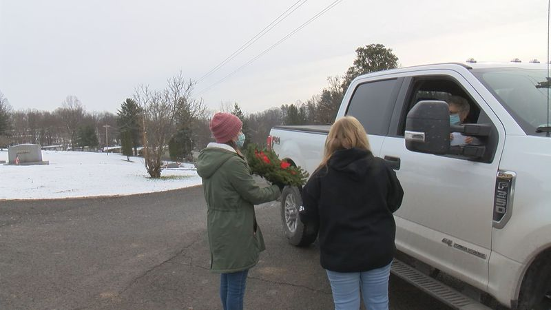Families were able to receive a wreath Saturday.