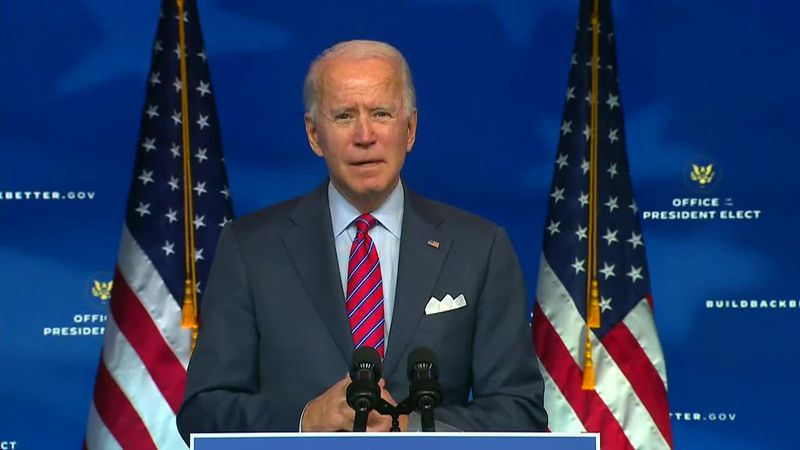 President-elect Joe Biden called for immediate action on COVID-19 relief in a speech Friday.