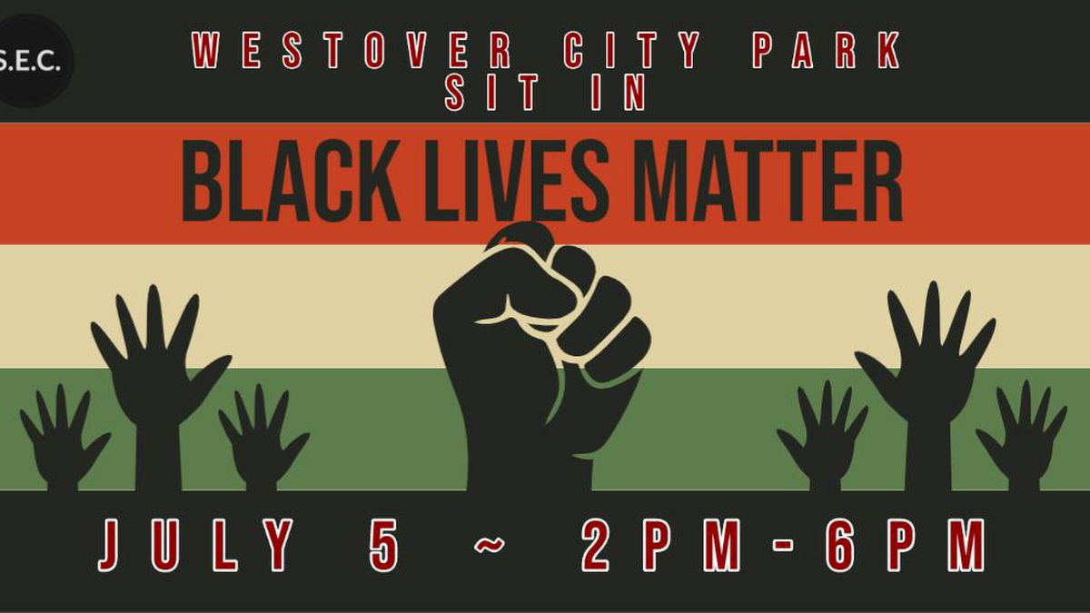 Community members gathered together for a sit-in at Westover City Park.