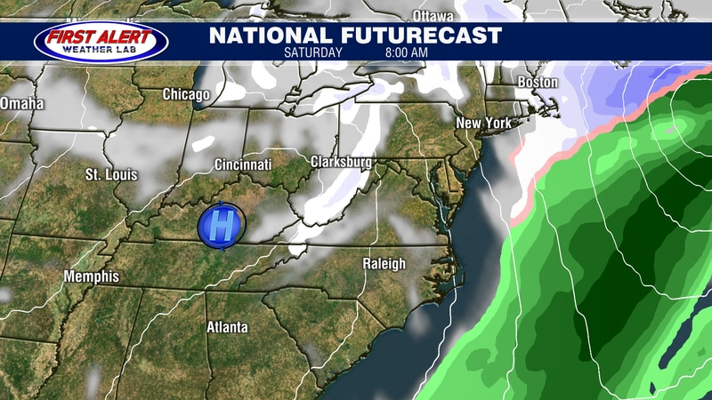 National Futurecast showing conditions at 8 AM, February 19, 2021.