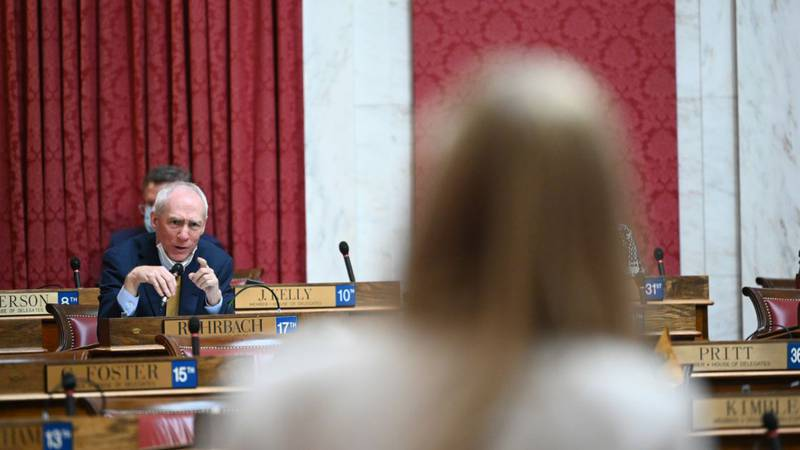 Del. Matthew Rohrbach asks questions during Monday's Legislative Oversight Commission on Health...