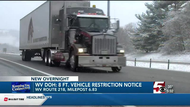 WV Division of Highways gives 8 ft. vehicle restriction notice on construction area