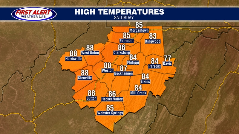 Expected highs for tomorrow, August 21, 2021.