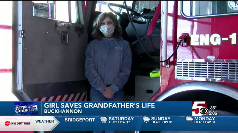 Girl saves grandfather's life