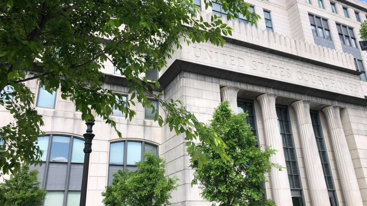 The federal courthouse in Charleston, where opioid distributors are on trail.