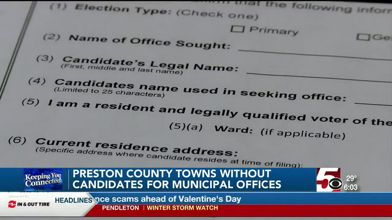 Preston County towns receive no candidate sign-ups for municipal offices; town halls respond