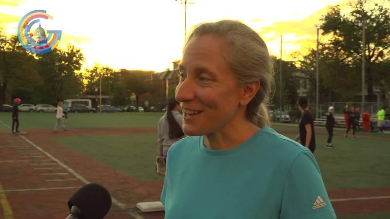 Rep. Abigail Spanberger (D-Va.) in congressional women's softball game