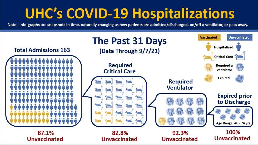 Dr. Mark Povroznik of UHC showcases the last 31 days of covid hospitalizations.