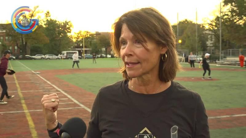 Rep. Cheri Bustos in Congressional women's softball game