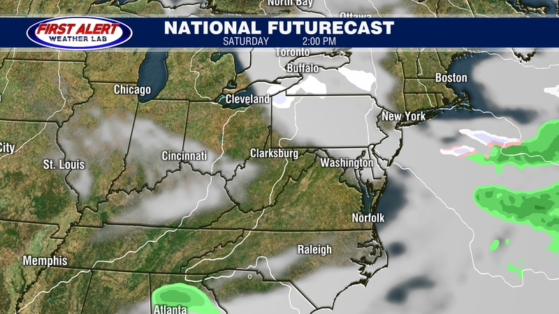 National Futurecast showing conditions at 2 PM, March 6, 2021.