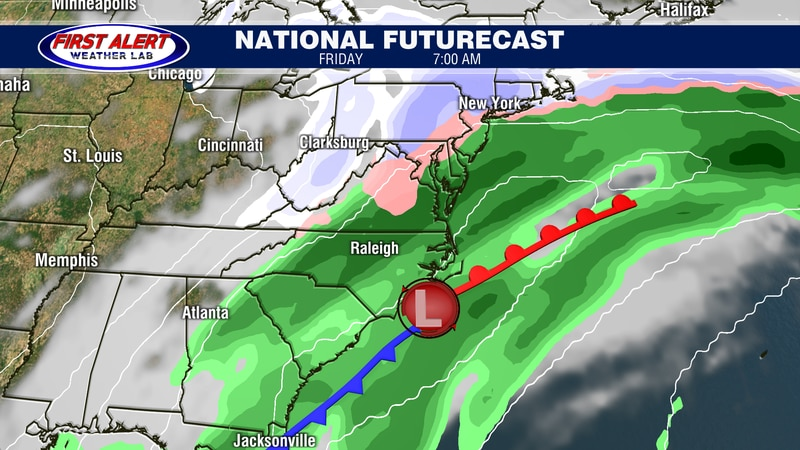National Futurecast showing conditions at 7 AM, February 19, 2021.