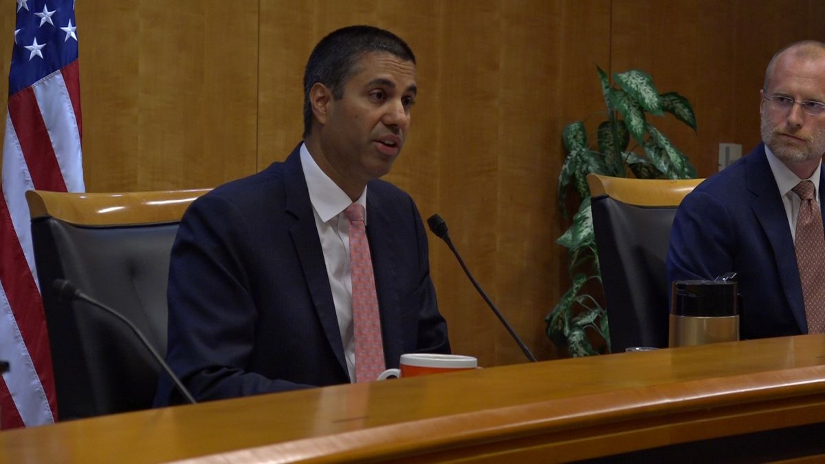 Federal Communications Chairman Ajit Pai sits in a hearing on August 1, where the FCC voted to implement the rules to enforce Kari's Law. (Source: Gray DC)