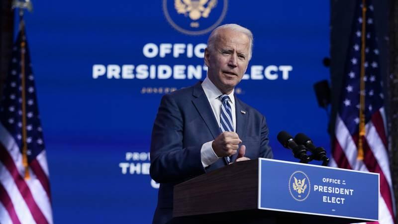President-elect Joe Biden speaks at The Queen theater, Tuesday, Nov. 10, 2020, in Wilmington,...