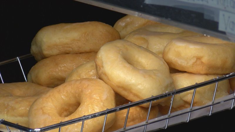 A wide range of doughnuts are available to customers
