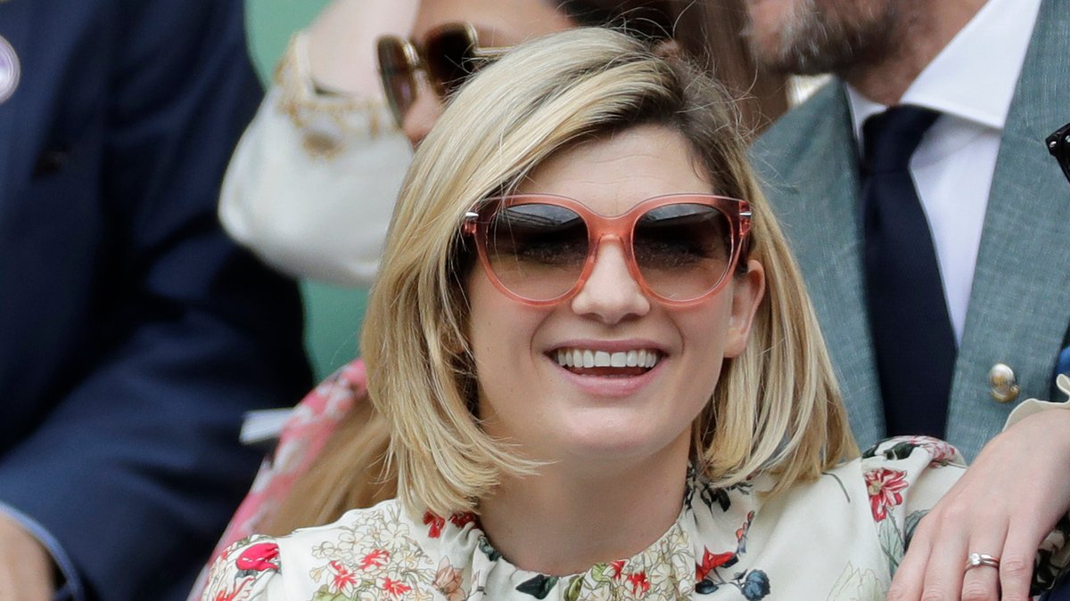 FILE - In this file photo dated Saturday, July 13, 2019, actress Jodie Whittaker sits in the...