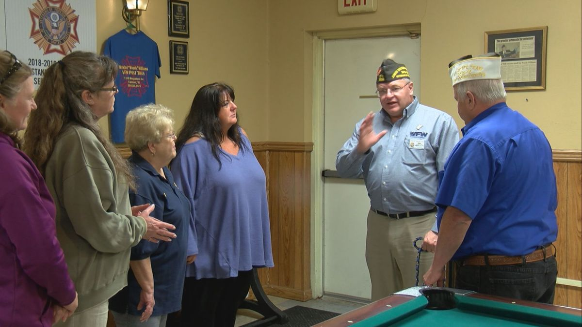 Mihelcic is touring the VFW's with his service dog Mama and the West Virginia State VFW Commander.