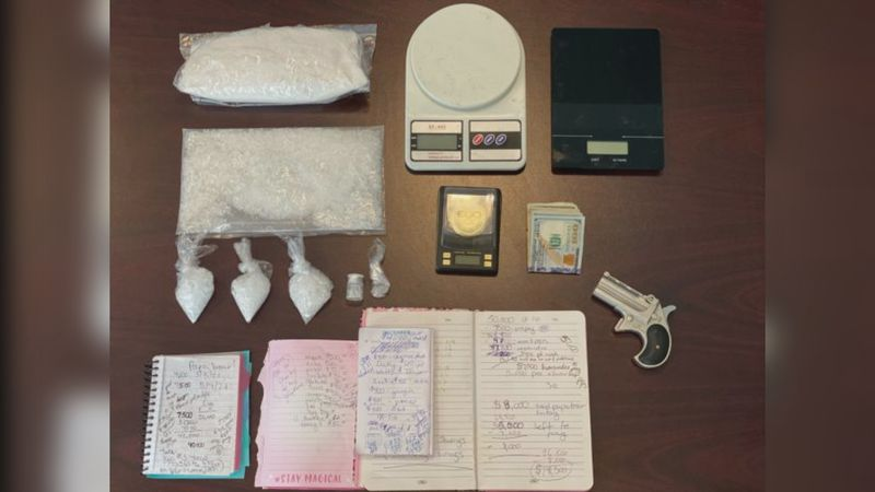 The Elkins Police Department seized 1.7 pounds of methamphetamine and three firearms