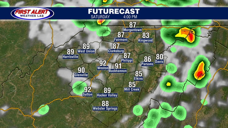 Futurecast showing conditions at 4 PM, August 28, 2021.