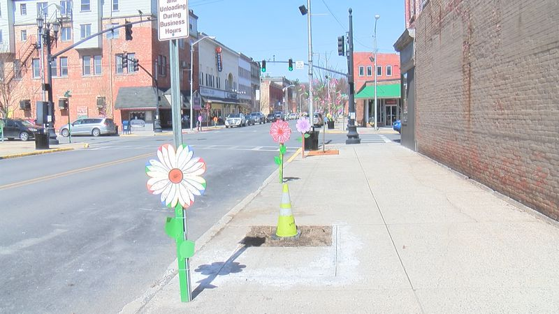 Elkins kicked off their Spring decorating downtown with some unique flowers.
