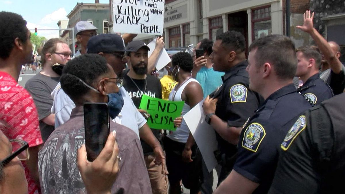 While protests in Fairmont largely remained peaceful over the weekend, there were tense moments and exchanges between protestors. (Photo: WDTV)