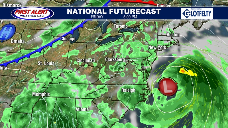 National Futurecast showing conditions at 5 PM, September 17, 2021.