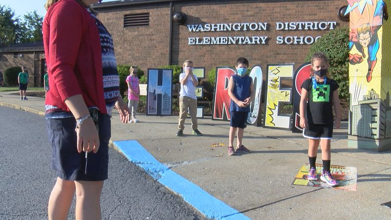 Elementary school students socially distance their way back to school.