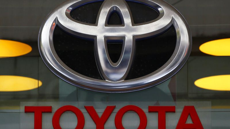 FILE - In this Sept. 20, 2017, file photo the Toyota logo is displayed at their shop on the...