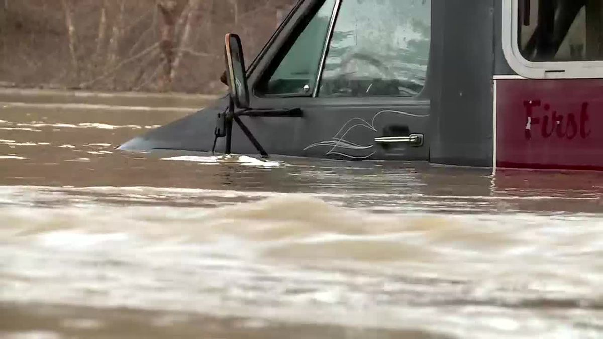 High water submerged many vehicles in the Dunlow and Genoa areas of Wayne County during...