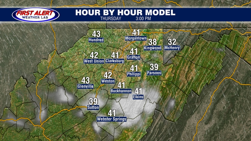 Hour-by-Hour model showing conditions at 3 PM, February 25, 2021.
