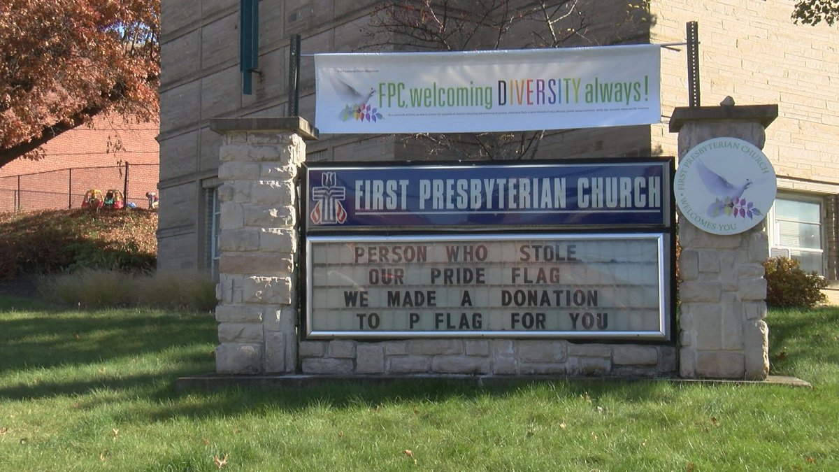 A church is turning a negative act into a positive message after its LGBTQ pride flag was...
