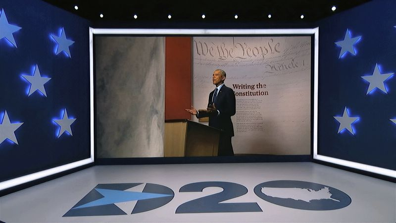 In this image from video, former President Barack Obama speaks during the third night of the...