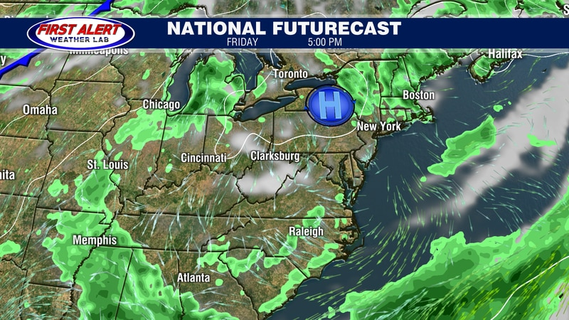 National Futurecast showing conditions at 5 PM, July 23, 2021.