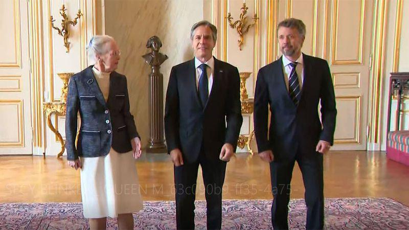U.S. Secretary of State Antony Blinken, center, meets with Queen Margethe II of Denmark and the...