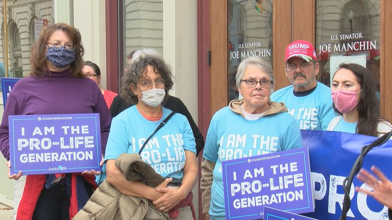 Students for Life of America gathered in front of Senator Joe Manchin's office in Fairmont to...