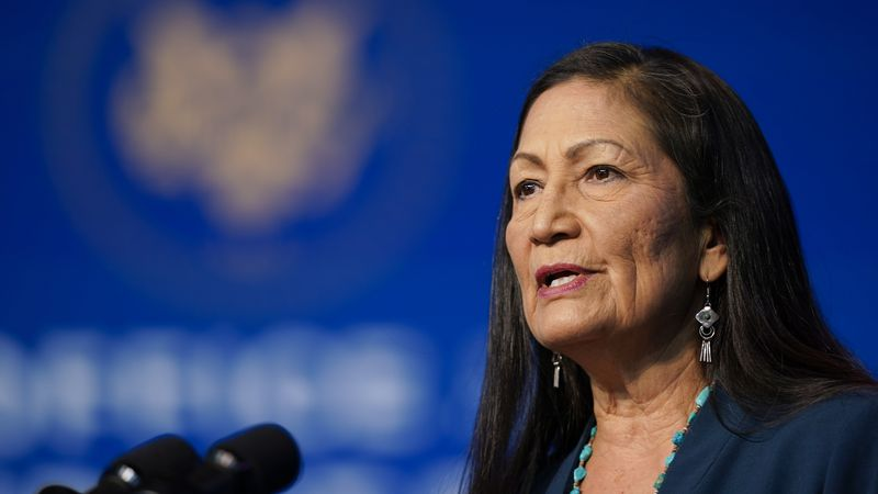 The Biden administration's nominee for Secretary of Interior, Rep. Deb Haaland, D-N.M., speaks...